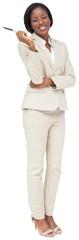 Thinking businesswoman in cream suit