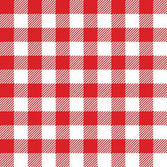 Seamless checked red and white pattern. Vector illustration