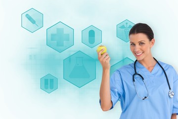 Composite image of happy surgeon holding an apple and smiling at
