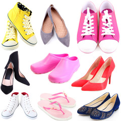 Collage of different shoes isolated on white
