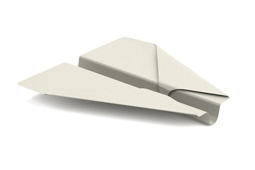 realistic 3d render of origami plane