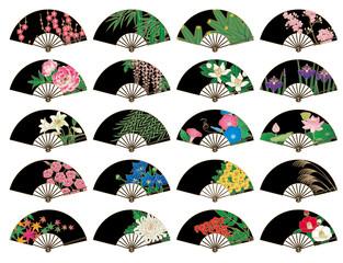 四季の花の飾り扇