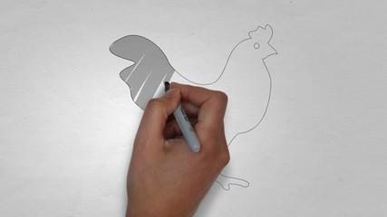 Hahn Bauernhof Huhn Hühner Zeichnung