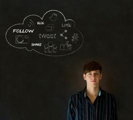 Businessman, student or teacher social media