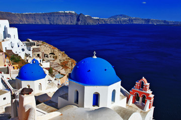 famous domes of Oia,Santorini, Greece