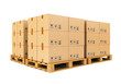 Warehouse: cardboard boxes on pallets