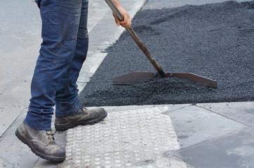 Road worker during roadwork