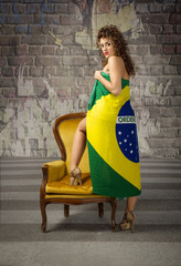 girl dressed with brazilian flag