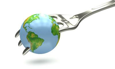 Globe in fork