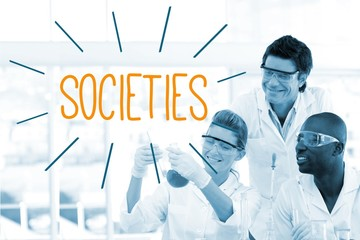 Societies against scientists working in laboratory