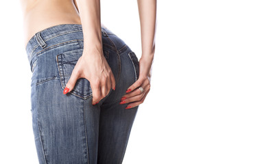 woman lift her buttocks with her hands