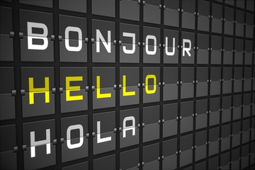 Hello in languages on black mechanical board