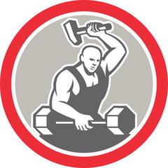 Blacksmith Striking at Barbell with Sledgehammer Retro