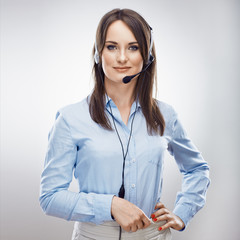 Call center operator. Phone talk.