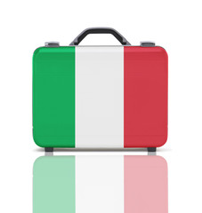 Business suitcase for travel with reflection and flag of Italy