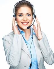 Woman opereator customer service suit dressed smile.