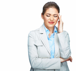 Business woman headache portrait with closed eyes. White backgr