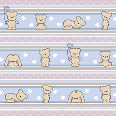 seamless vector baby.  pattern with bears