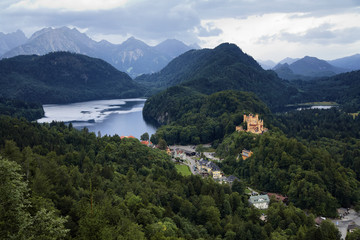 Bavarian Alps, village Schwangau and Hohenschwangau Castle