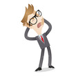 Frustrated businessman, shouting, tearing his hair