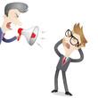Boss, yelling, megaphone, frustrated employee
