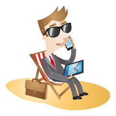 Businessman, canvas chair, beach, working, vacation