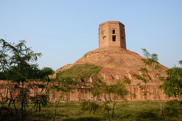 Holy buddhist Chaukhandi Stupa in Sarnath,India