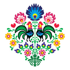 Polish folk embroidery with roosters - Wzory Lowickie