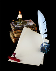 Still life with vintage writing instruments