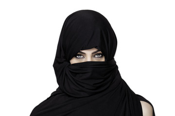 Girl wearing a burqa with uncovered shoulder
