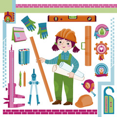 Woman,girl the architect and a tooling-Illustration