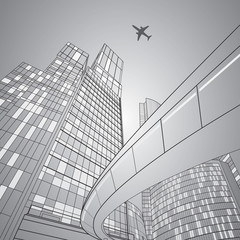 Airplane flying. Business building on background, overpass