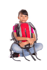 Young Malay Asian girl student with a backpack over white