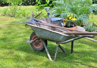 outils, pot de fleurs dans brouette