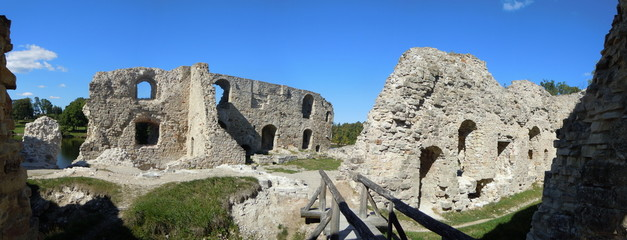 Panorama of remains of old castle (Koknese, Latvia)