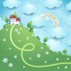 Fantasy landscape with rainbow