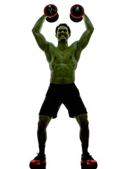 man weights training  exercises strong like Hulk