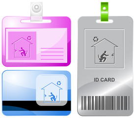 Home toilet. Vector id cards.