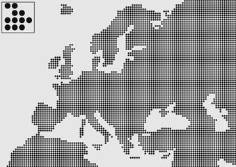 Avrupa haritası  ( siyah noktalı )