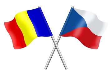Flags : Romania and Czech Republic