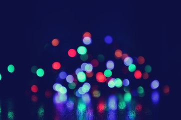 Abstract light bokeh background with retro filter effect