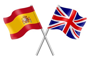 Flags: Spain and United Kingdom