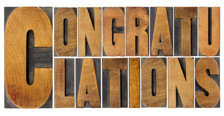 congratulations in wood type