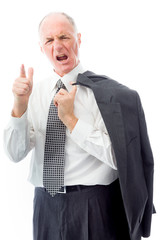 Upset businessman scolding somebody