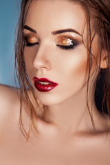 Vertical photo of sexy female with closed eyes and wet makeup