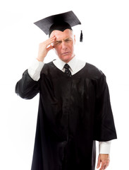 Stressed Senior male graduate