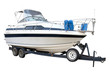 The motor yacht on the trailer for transportation