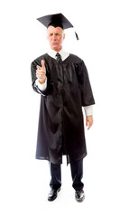 Senior male graduate pointing