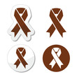 Brown ribbon anti-tobacco symbol, awereness of colon cancer