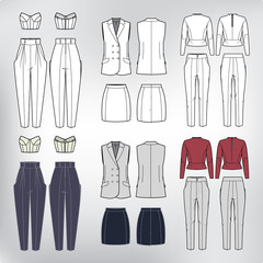Vector set of women's clothes. Fashion collection.